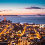 Coit Tower, Alcatraz and Part of San Francisco Bay